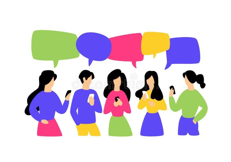 Illustratie van communicerende mensen Vector illustratie Het beeld is geïsoleerd op witte achtergrond De vlakke stijl, zakenliede vector illustratie