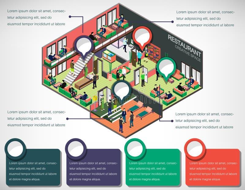 Illustratie van concept van de informatie het grafische binnenlandse ruimte stock illustratie