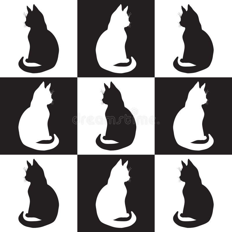 Illustratie van contourtekening van geïsoleerde zwart-witte vierkanten en cijfers van zwart-witte kattensilhouetten van twee scha stock illustratie