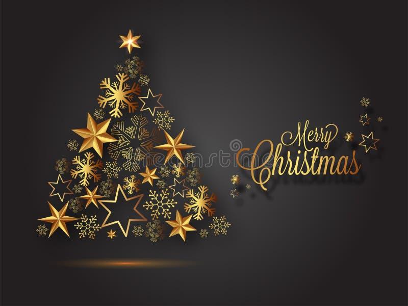 Illustratie van creatieve die Kerstmisboom door sneeuwvlokken en sterren wordt gemaakt royalty-vrije illustratie