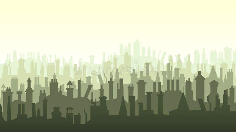 Illustratie van daken met talrijke schoorstenen. vector illustratie