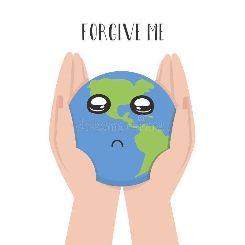 Illustratie van de aarde in de handen van de mens stock illustratie
