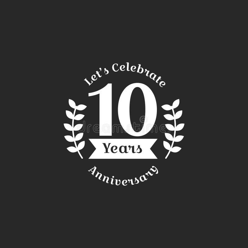 Illustratie van de 10de banner van de verjaardagszegel stock illustratie