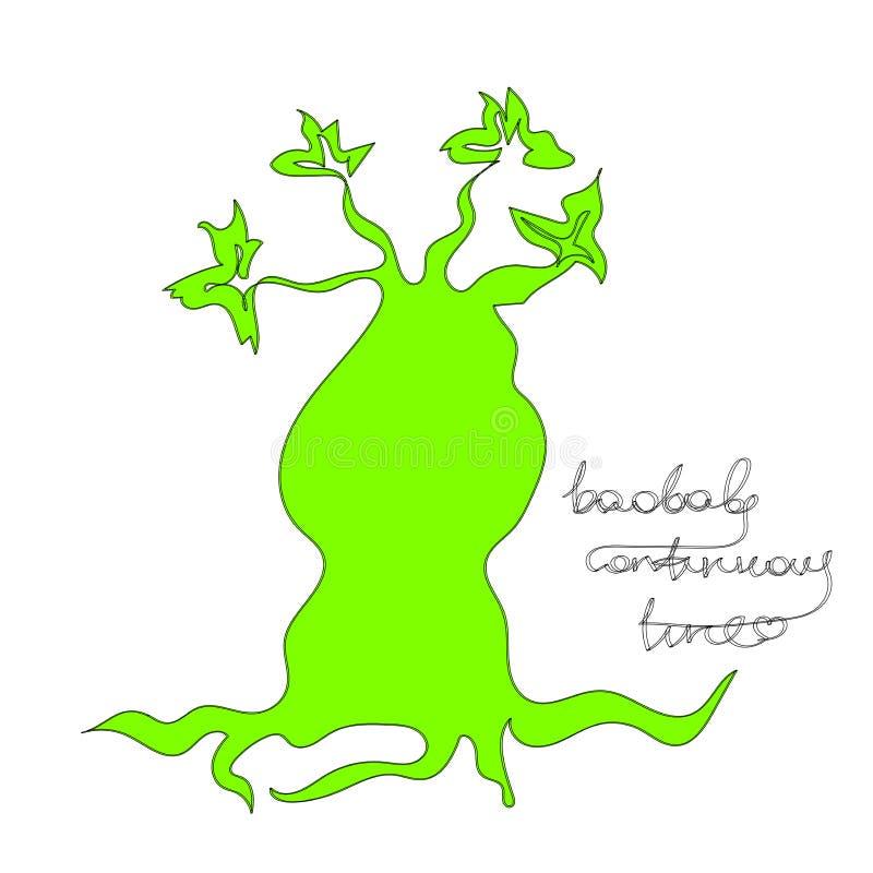 Illustratie van de baobab de Ononderbroken Lijn vector illustratie