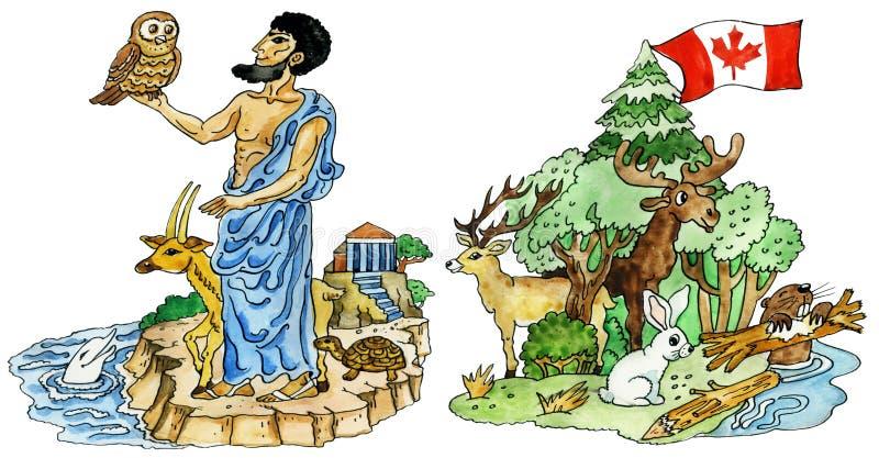 Illustratie van de beeldverhaal dier-mascottes royalty-vrije illustratie