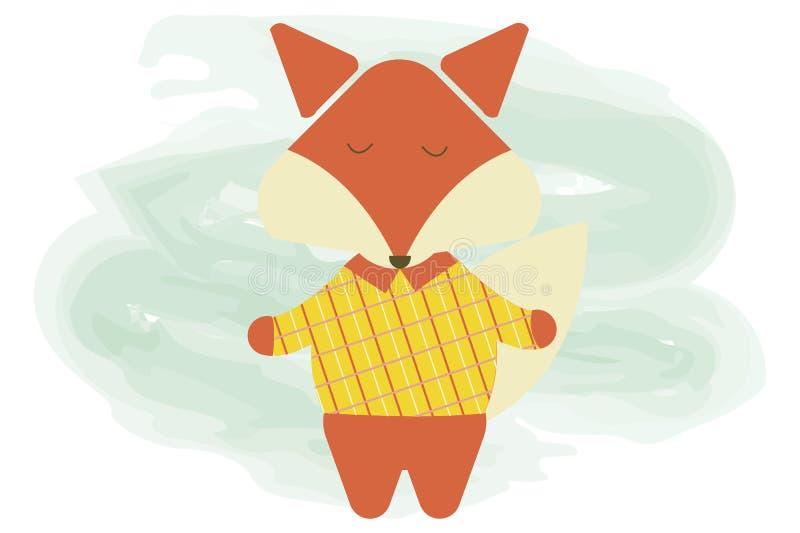 Illustratie van de beeldverhaal de leuke vos Het vector vlakke dier van het beeldverhaalkarakter stock illustratie