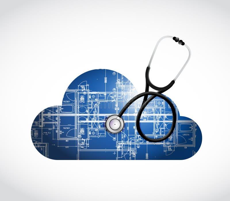 illustratie van de blauwdruk de medische wolk stock illustratie