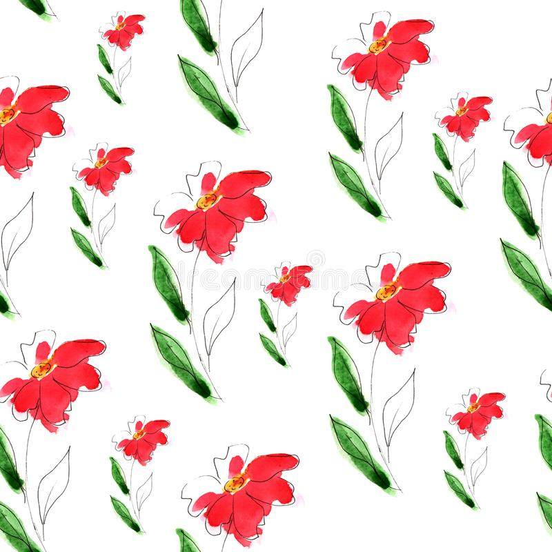 Illustratie van de bloem van het waterverfpatroon stock illustratie