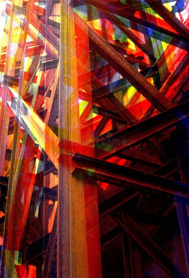 Illustratie van de de balken de industriële structuur van het staal stock illustratie