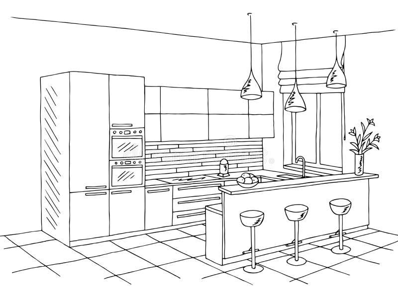 Illustratie van de de kunstschets van de keukenruimte de binnenlandse zwarte witte grafische royalty-vrije illustratie
