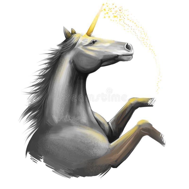 Illustratie van de eenhoorn de digitale die kunst op witte achtergrond wordt geïsoleerd Legendarische oude mythologische crature, royalty-vrije stock afbeeldingen