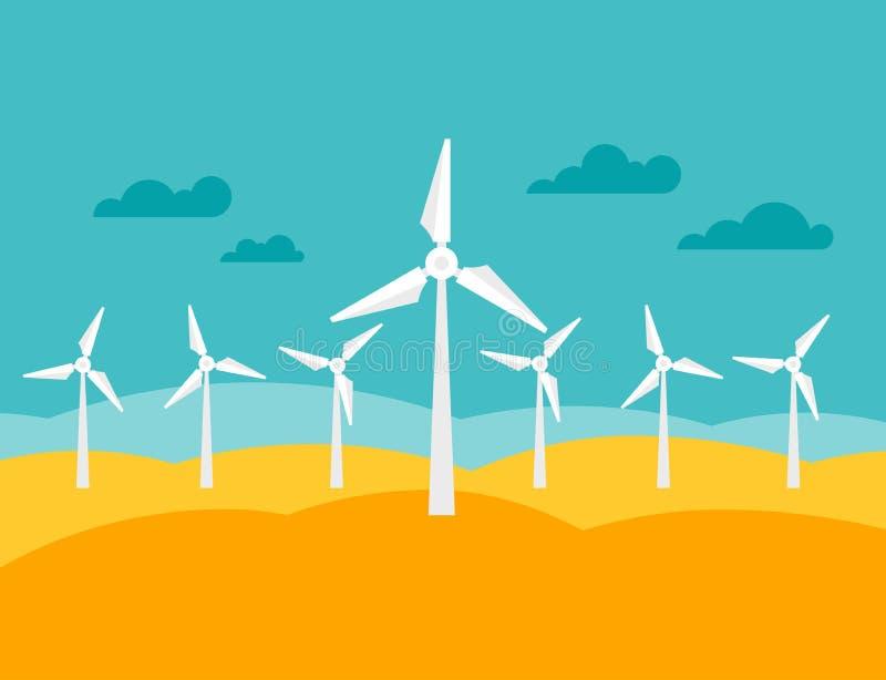 Illustratie van de elektrische centrale van de windenergie in vlakte royalty-vrije illustratie