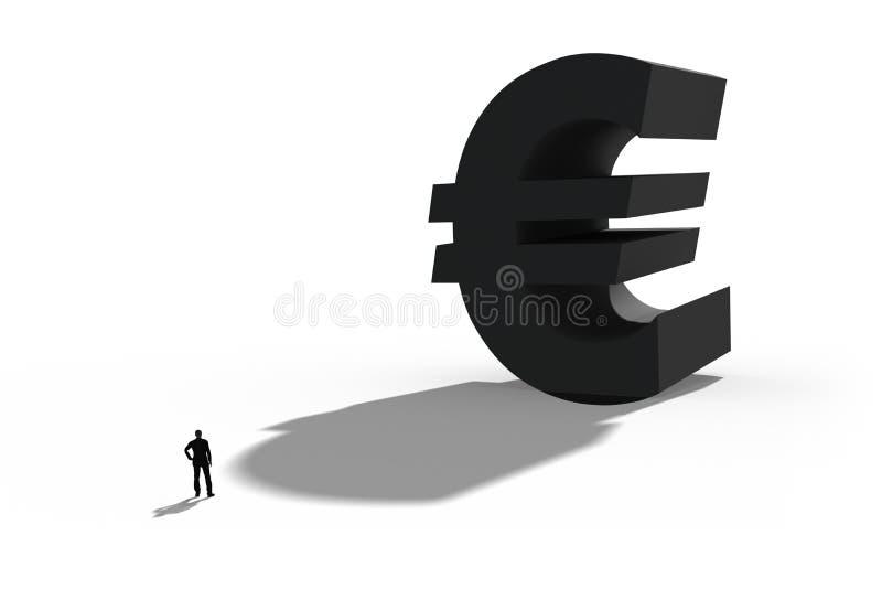 Illustratie van de Europese munteuro, Symbool voor zaken en financiën stock afbeelding