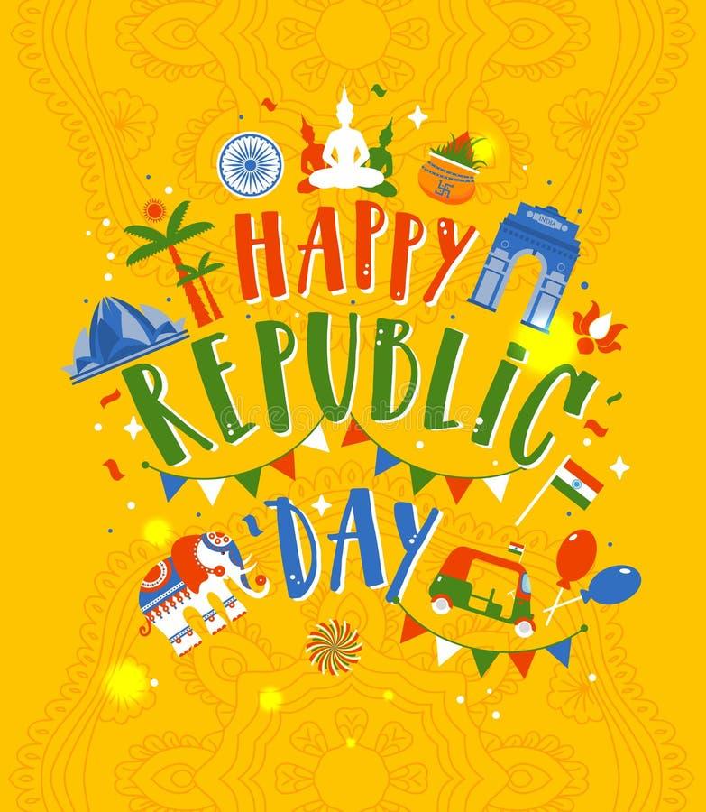 Illustratie van de Gelukkige Dag van de Republiek van India op gele achtergrond royalty-vrije illustratie