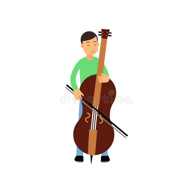 Illustratie van de gelukkige donkerbruine mannelijke speler van de karaktercontrabas De musicus die van de kunstenaars jonge mens vector illustratie