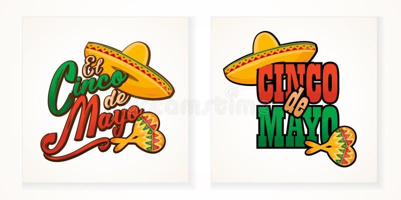 Illustratie van de de groettekst van Cinco de Mayo de van letters voorziende royalty-vrije illustratie