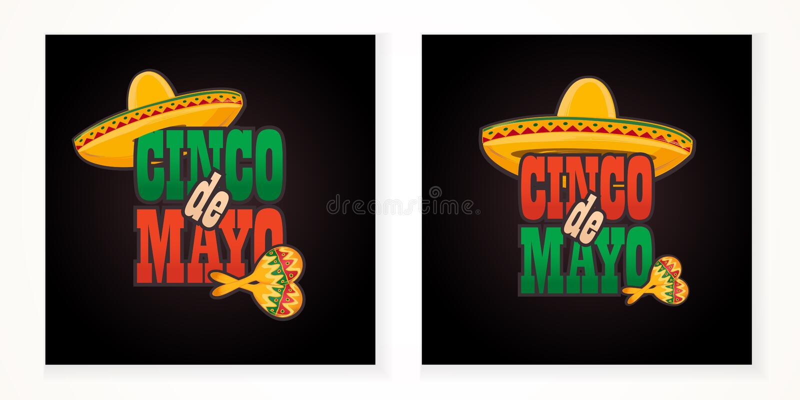 Illustratie van de de groettekst van Cinco de Mayo de van letters voorziende vector illustratie