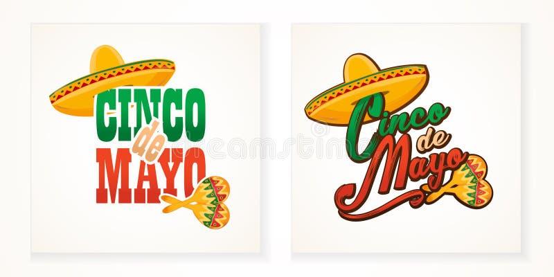 Illustratie van de de groettekst van Cinco de Mayo de van letters voorziende stock illustratie