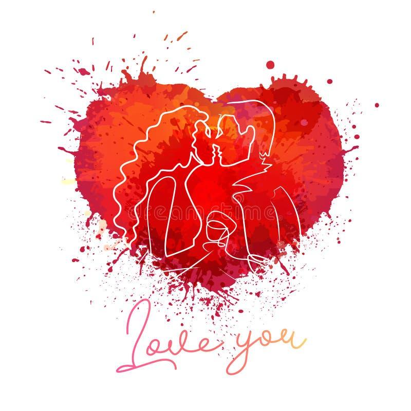 Illustratie van de het hart de vectorkleur van de verfplons De liefdewaterverf ploetert tekening vector illustratie