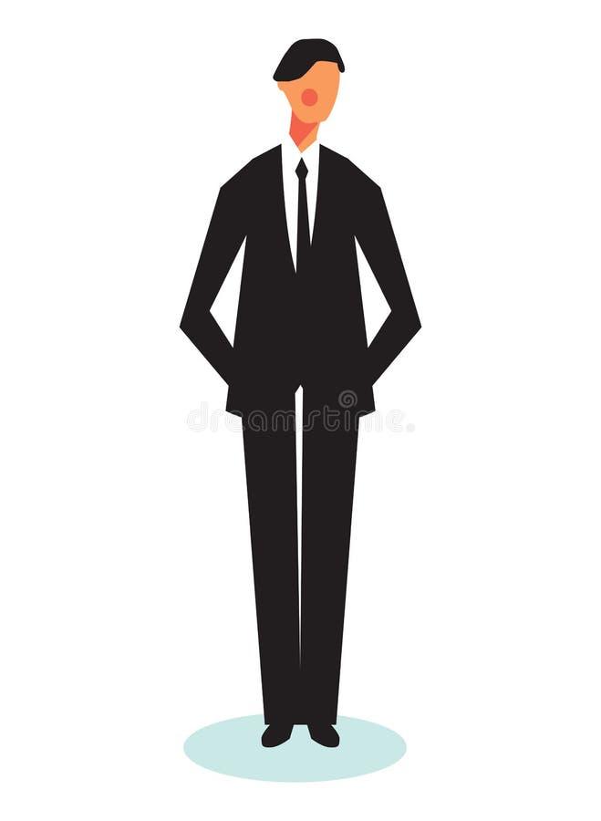 Illustratie van de jonge en zekere bedrijfsmens Zakenman binnen stock illustratie