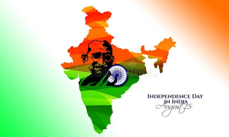 Illustratie van de kaartachtergrond van Tricolor India met Natieheld Mahatma Gandhi en Ashoka Chakra voor de Viering van de Onafh stock illustratie