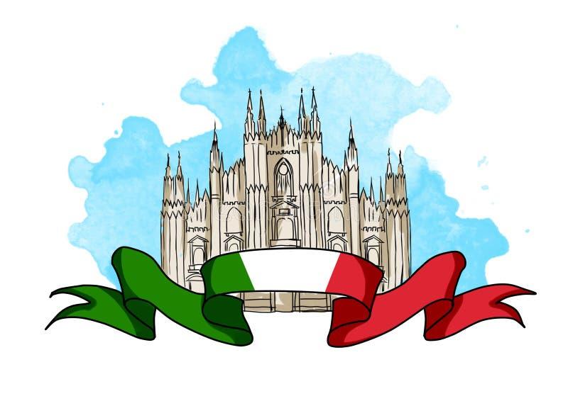 Illustratie van de kathedraalkoepel van Milaan vector illustratie