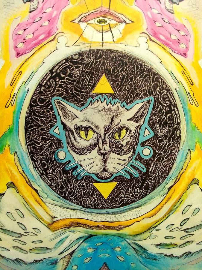 Illustratie van de katten de psichodelic kunst royalty-vrije stock fotografie