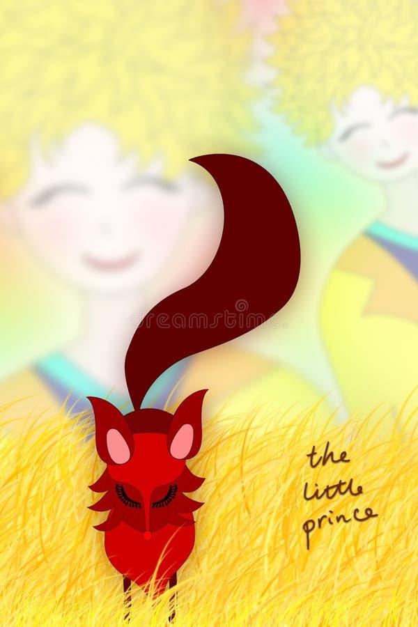 Illustratie van de kleine prins en de vos stock illustratie