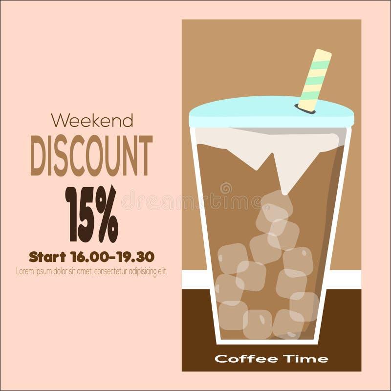 Illustratie van van de de Koffietijd van de Weekendkorting de Vectoraffiche Het heldere Malplaatje van de Verkoopvlieger met Reis stock illustratie