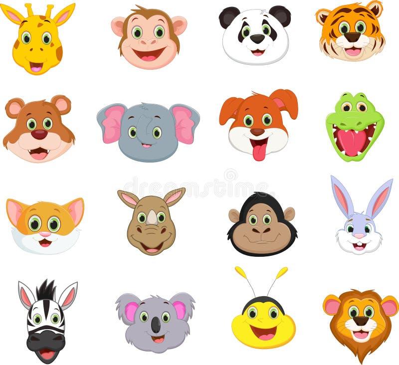 Illustratie van de leuke dierlijke inzameling van het gezichtsbeeldverhaal vector illustratie