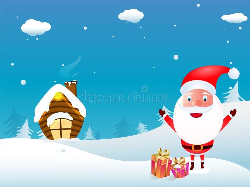 Illustratie van de leuke Kerstman met giftdozen en sneeuw cappe stock illustratie