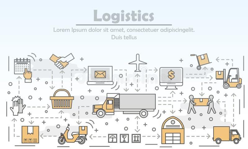 Illustratie van de de lijnkunst van het logistiekconcept de vector vlakke stock illustratie