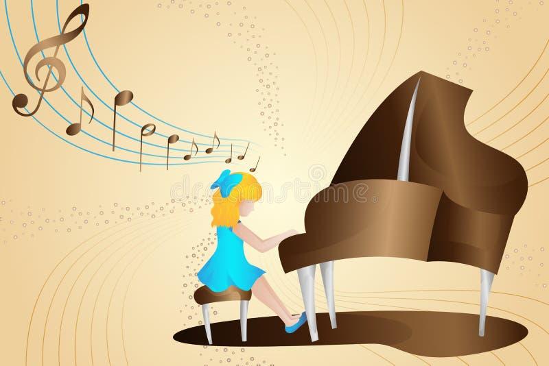Illustratie van de meisjes de Speelpiano stock illustratie