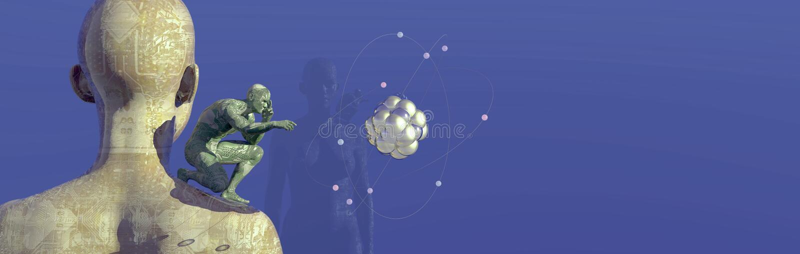illustratie van de mens met getatoeeerde kringen stock illustratie