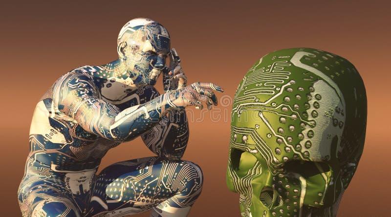 illustratie van de mens met getatoeeerde kringen royalty-vrije illustratie