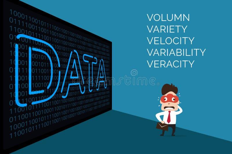 Illustratie van de mens van het wolkenmasker en grote gegevens over binaire achtergrond royalty-vrije stock afbeeldingen