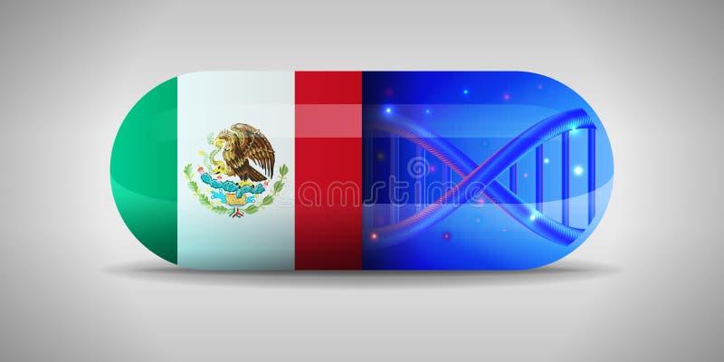 Illustratie van de nationale geneesmiddelen van Mexico Drugproductie in Mexico Nationale vlag van Mexico op capsule met gen vector illustratie