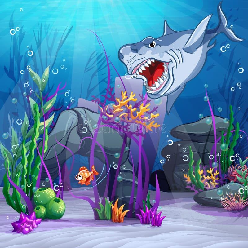 Illustratie van de onderwaterwereld en de kwade haai stock illustratie