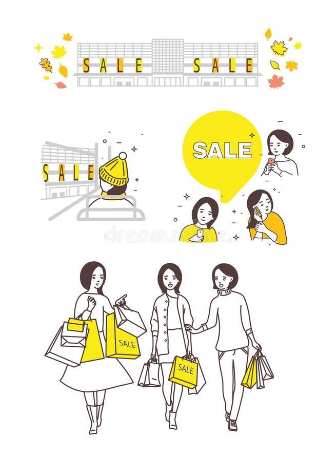 Illustratie van de periode van verkoop, de herfstverkoop vector illustratie