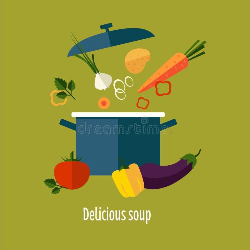 Illustratie van de recepten de Vegetarische Groentesoep royalty-vrije illustratie
