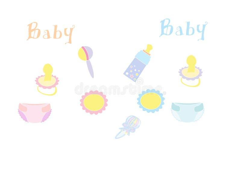 Illustratie van de reeks van het babyproduct vector illustratie