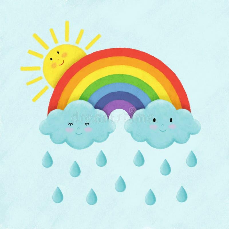 Illustratie van de regenboog, wolken, regendruppels en de zon vector illustratie