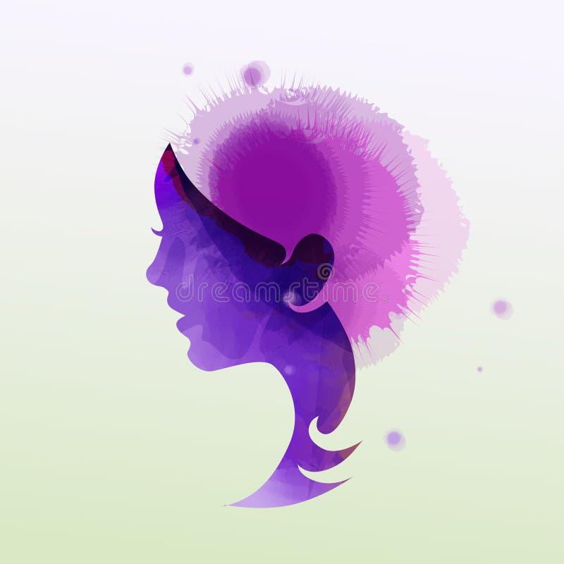 Illustratie van de salonsilhouet van de vrouwenschoonheid plus abstracte waterverf Manierembleem Het digitale kunst schilderen vector illustratie