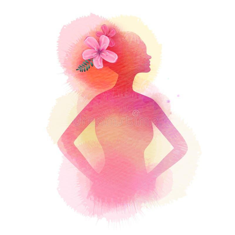 Illustratie van de salonsilhouet van de vrouwenschoonheid plus abstracte waterverf Manierembleem Het digitale kunst schilderen royalty-vrije illustratie