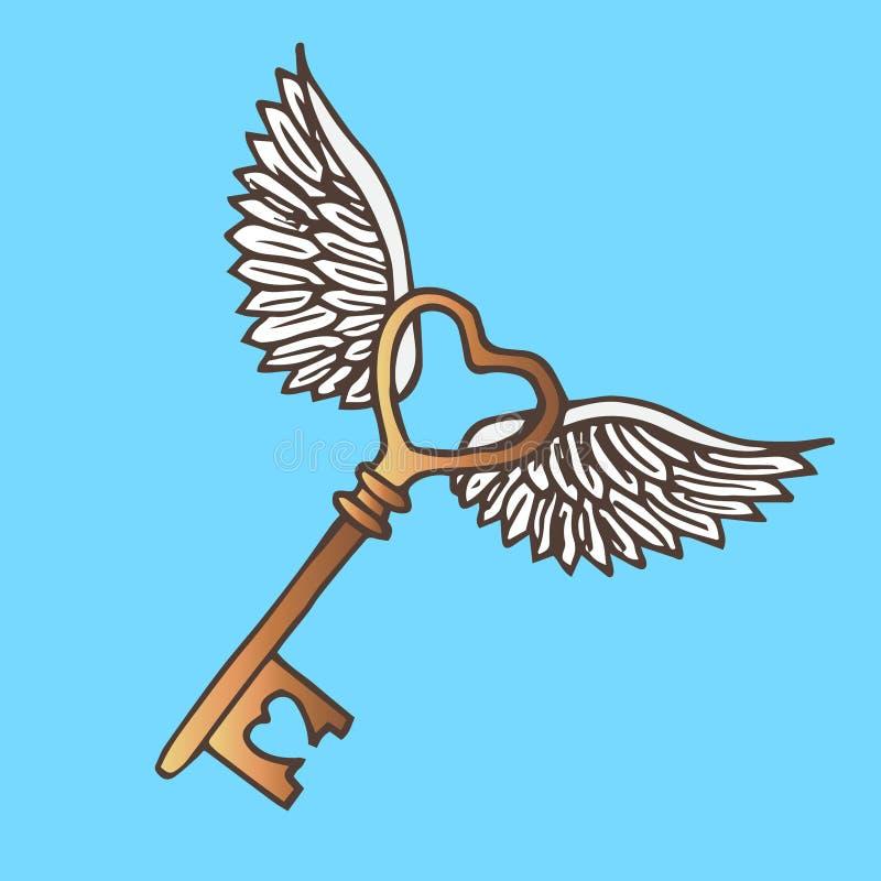 Illustratie van de sleutel met vleugels Vliegende Gouden Zeer belangrijke wijnoogst royalty-vrije illustratie