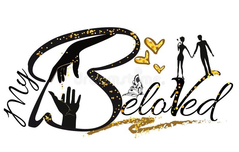 Illustratie van de slogan de vectort-shirt met geliefd paar vector illustratie