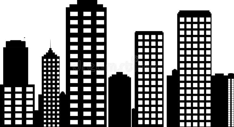 Illustratie van de stad in zwart-wit vector illustratie
