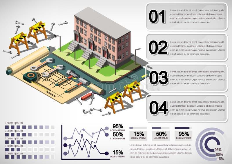 Illustratie van de structuurconcept van het informatie grafisch huis royalty-vrije illustratie