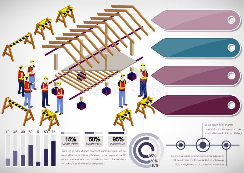 Illustratie van de structuurconcept van het informatie grafisch huis stock illustratie