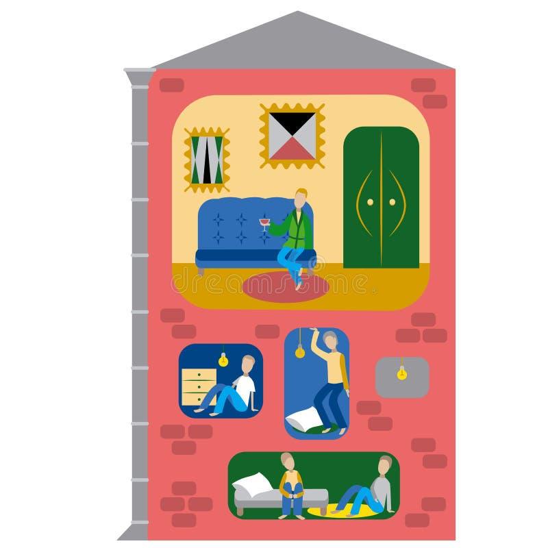 Illustratie van de tekort aan woningen de vlakke stijl royalty-vrije illustratie